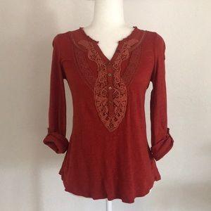 Anthro Meadow Rue rust crochet long sleeve top
